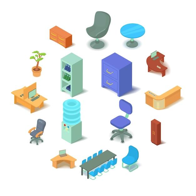オフィス家具のアイコンセット、アイソメ図スタイル Premiumベクター