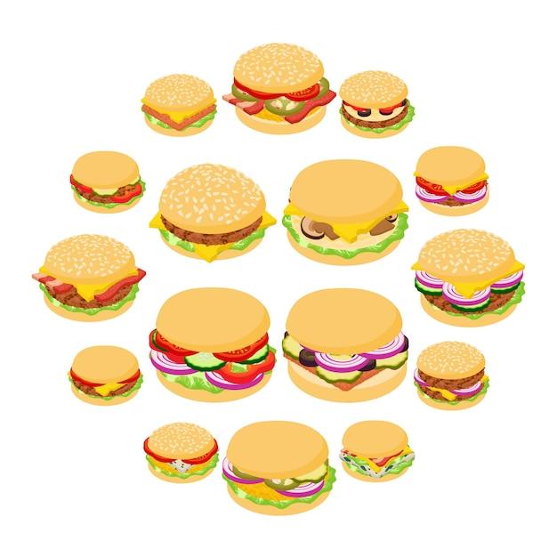 ハンバーガーの古典的なアイコンセット、アイソメ図スタイル Premiumベクター