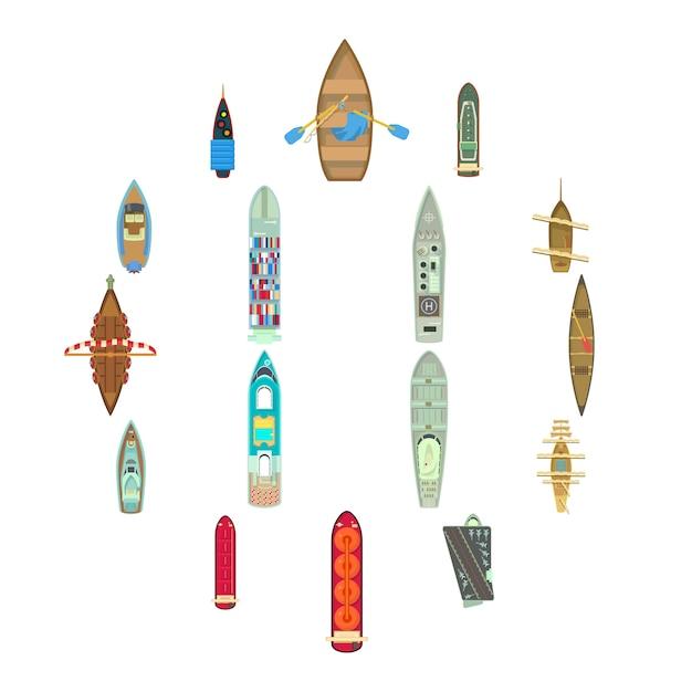 Вид сверху лодки над набором иконок, мультяшном стиле Premium векторы