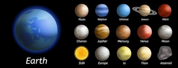 Набор иконок планет галактики, реалистичный стиль Premium векторы