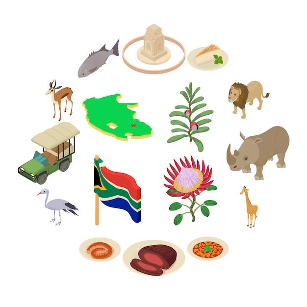 南アフリカ旅行のアイコンを設定、アイソメ図スタイル Premiumベクター