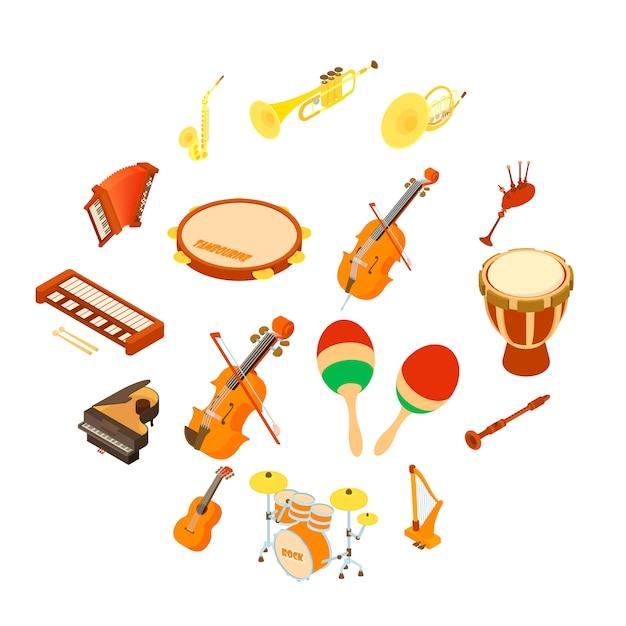 楽器のアイコンセット、アイソメ図スタイル Premiumベクター