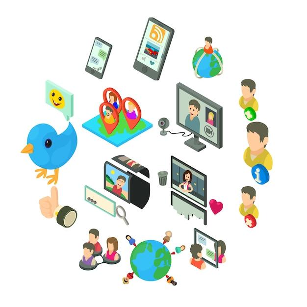 ソーシャルネットワークのアイコンセット、アイソメ図スタイル Premiumベクター
