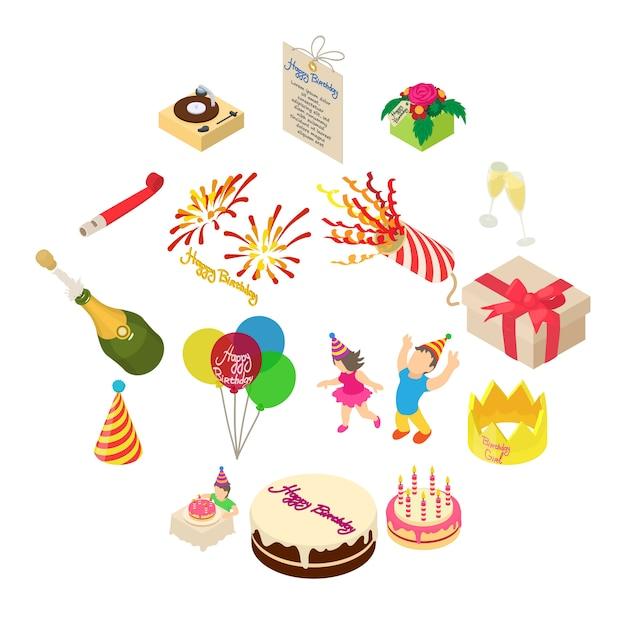 誕生日パーティーのアイコンセット、アイソメ図スタイル Premiumベクター