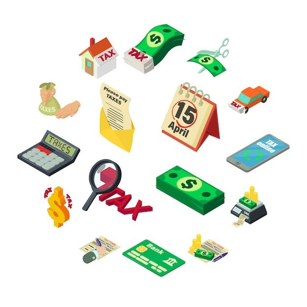 Налоги бухгалтерского учета деньги набор иконок, изометрический стиль Premium векторы