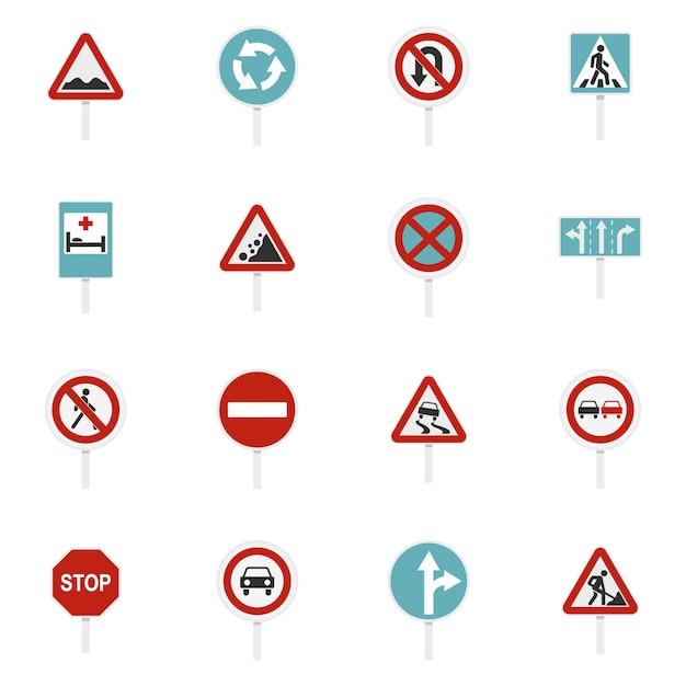 さまざまな道路標識設定フラットアイコン Premiumベクター
