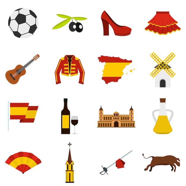 スペイン旅行セットフラットアイコン Premiumベクター