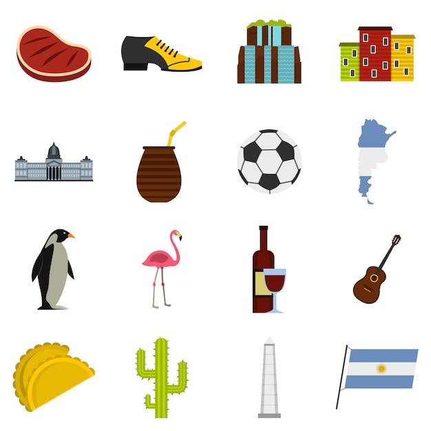 アルゼンチン旅行アイテムのアイコンをフラットスタイルに設定 Premiumベクター