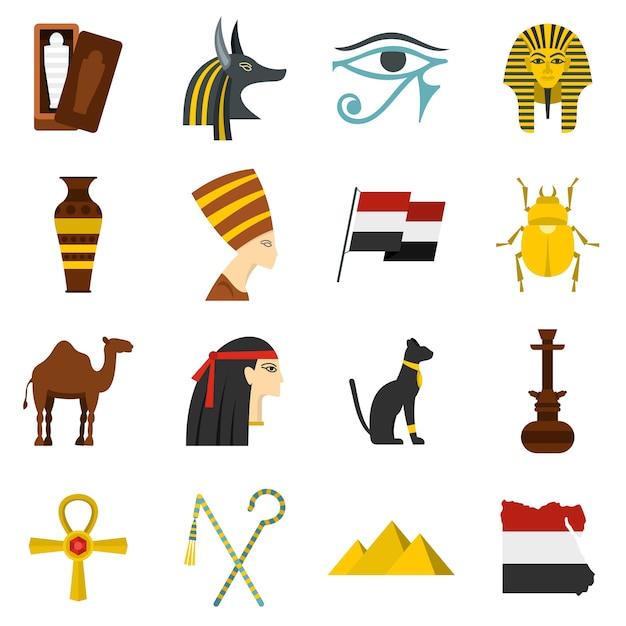 Набор иконок египет путешествия предметов в плоском стиле Premium векторы
