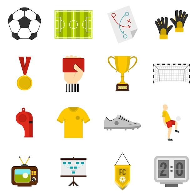 サッカーサッカーのアイコンをフラットスタイルに設定 Premiumベクター