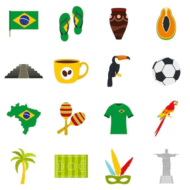 ブラジル旅行のシンボルアイコンをフラットスタイルに設定 Premiumベクター