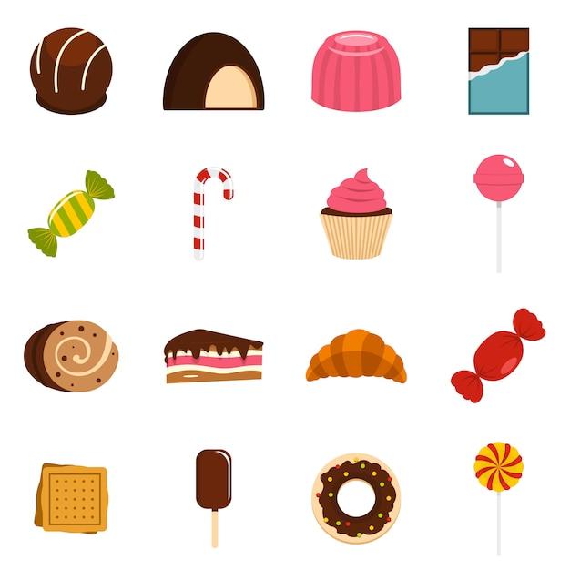 お菓子やキャンディーのアイコンをフラットスタイルに設定 Premiumベクター