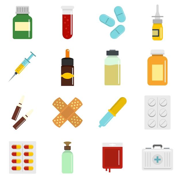 フラットスタイルでさまざまな薬のアイコンを設定 Premiumベクター