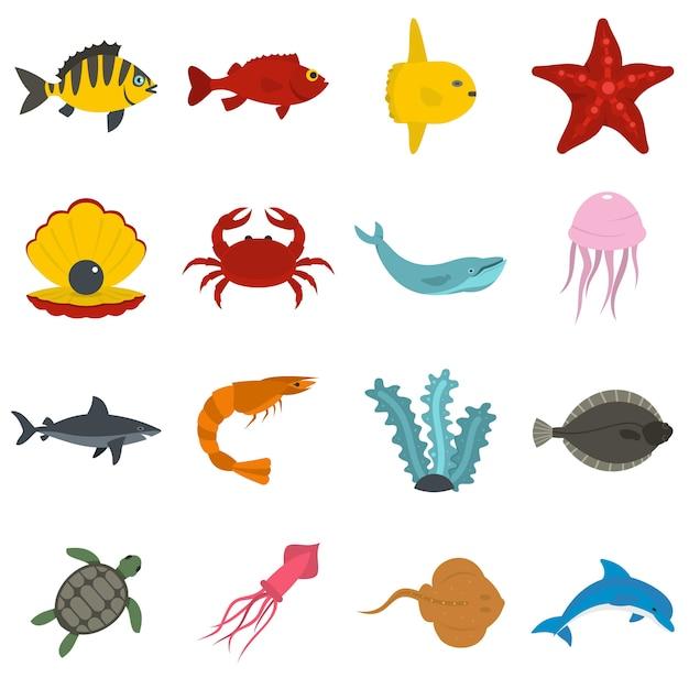 海の動物アイコンをフラットスタイルに設定 Premiumベクター
