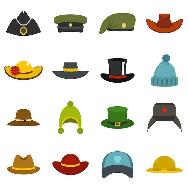 頭飾り帽子アイコンをフラットスタイルに設定 Premiumベクター