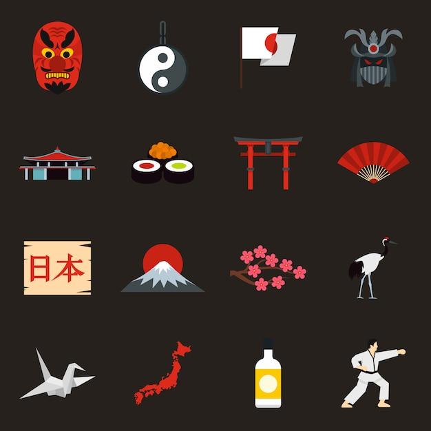 Набор иконок японии Premium векторы