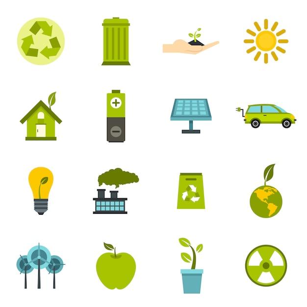 Экология иконки в плоский. Premium векторы