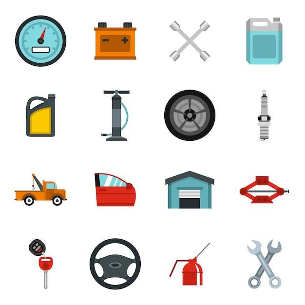 車のメンテナンスと修理のアイコンを設定 Premiumベクター