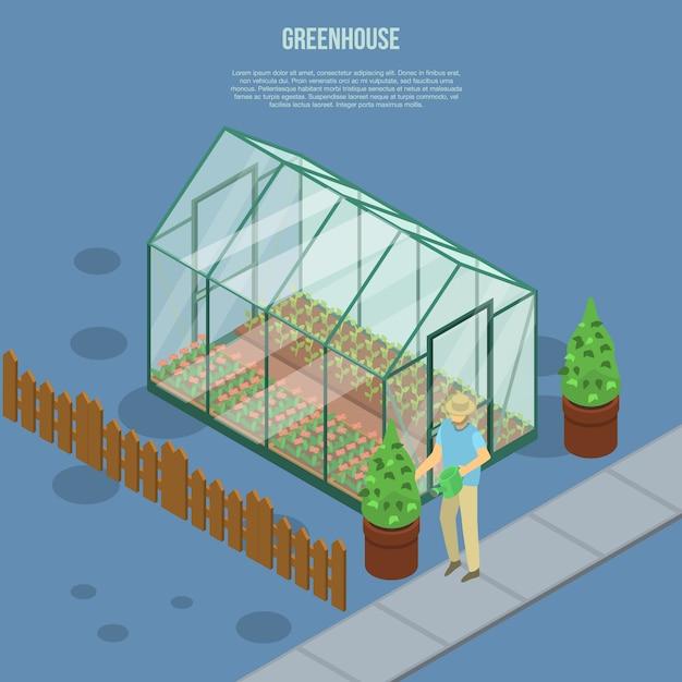 温室バナー、アイソメ図スタイル Premiumベクター