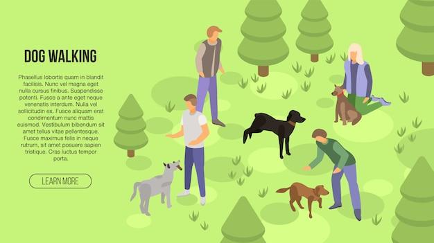 犬のウォーキングコンセプトバナー、アイソメ図スタイル Premiumベクター