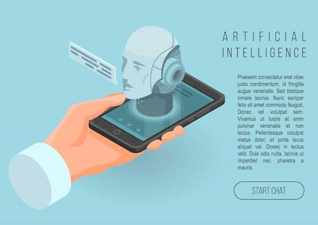 人工知能概念バナー、アイソメ図スタイル Premiumベクター
