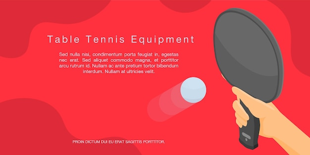 卓球機器コンセプトバナー、アイソメ図スタイル Premiumベクター