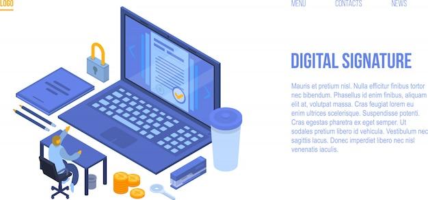 デジタル署名コンセプトバナー、アイソメ図スタイル Premiumベクター