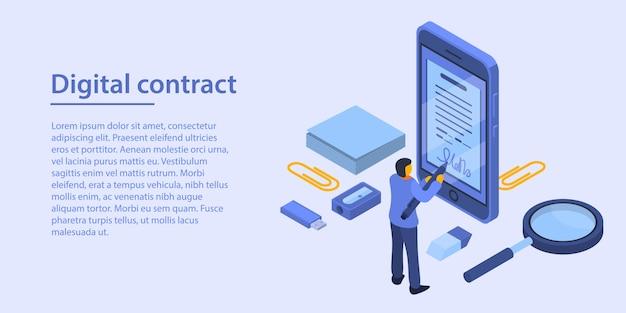 デジタル契約コンセプトバナー、アイソメ図スタイル Premiumベクター