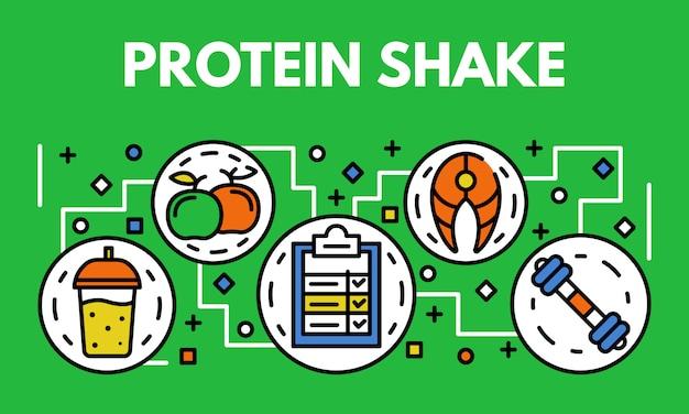 タンパク質シェイクバナー、アウトラインのスタイル Premiumベクター