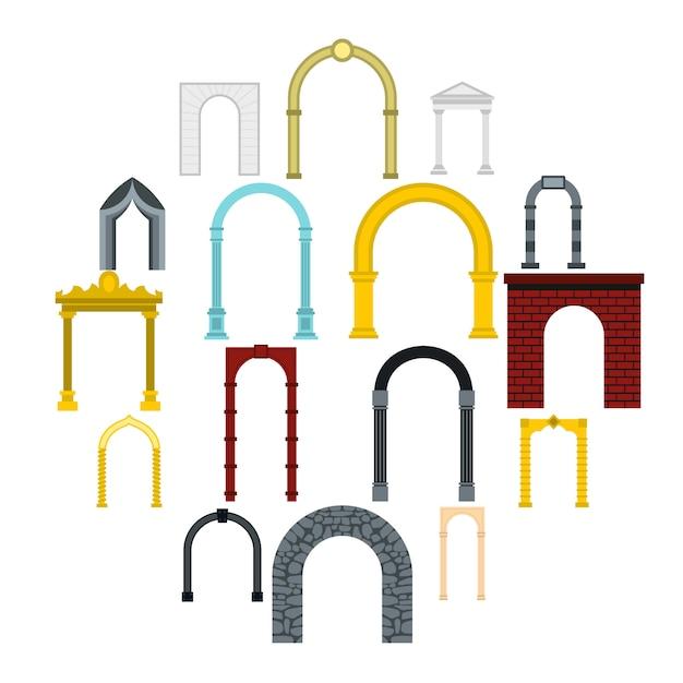 Набор иконок арки, плоский стиль Premium векторы