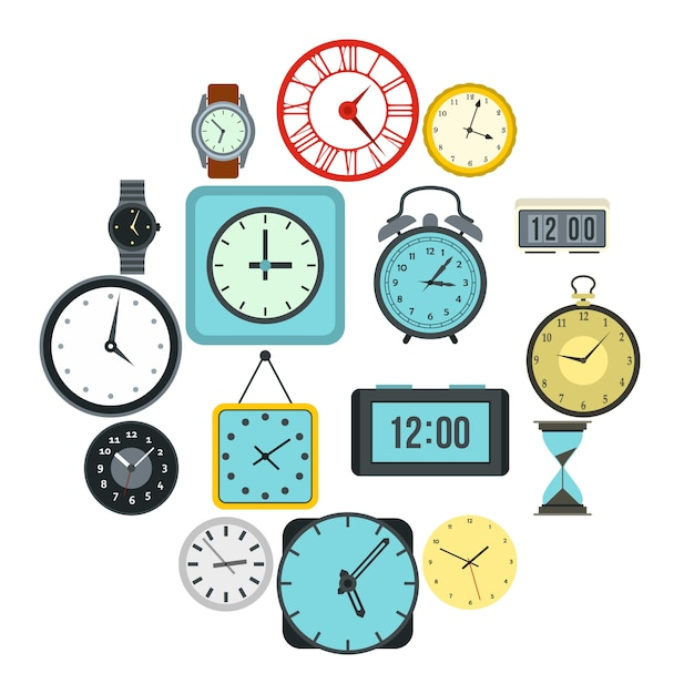 時間と時計のアイコンセット、フラットスタイル Premiumベクター