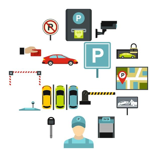 駐車場のアイコンセット、フラットスタイル Premiumベクター
