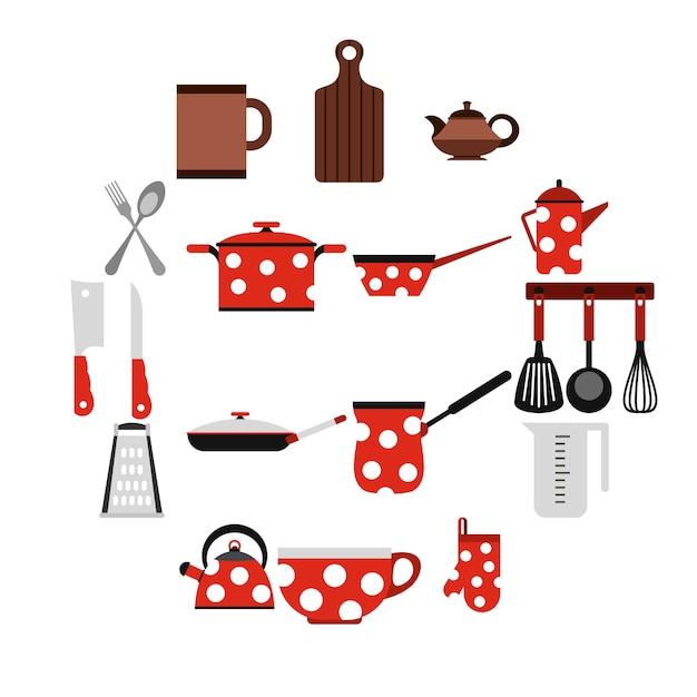 キッチン用品や調理器具のアイコン、フラットスタイル Premiumベクター