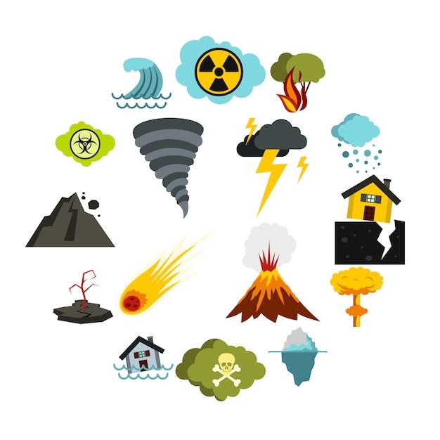 自然災害のアイコンセット、フラットスタイル Premiumベクター