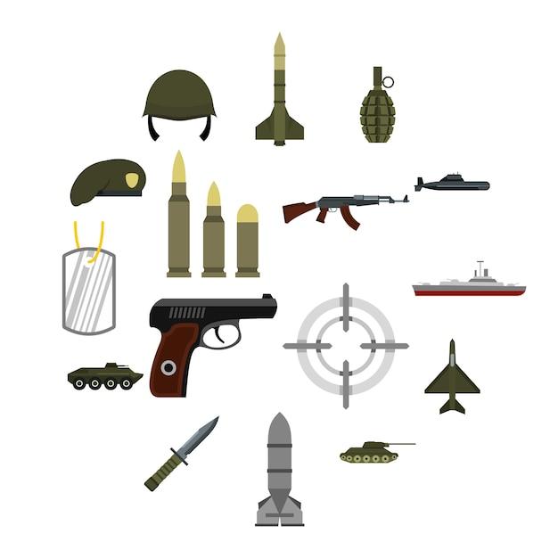 Набор военных иконок, плоский стиль Premium векторы