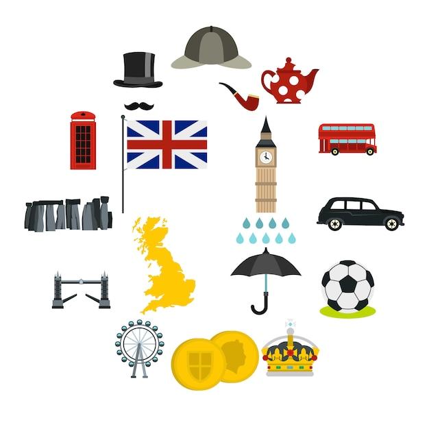 イギリスのアイコンセット、フラットスタイル Premiumベクター