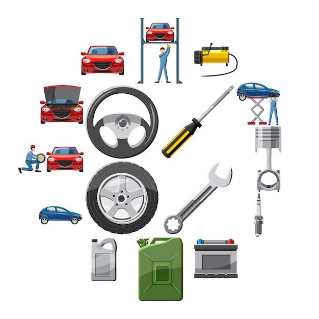 Набор иконок автосервиса в мультяшном стиле Premium векторы