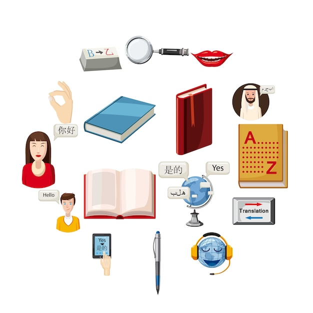 Набор иконок переводчика профессии, мультяшном стиле Premium векторы