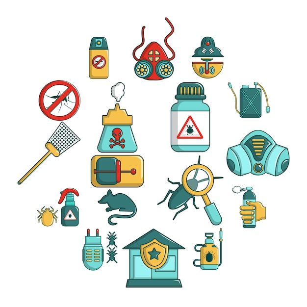 Набор иконок инструментов борьбы с вредителями, мультяшном стиле Premium векторы