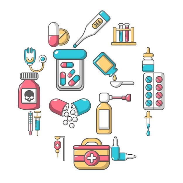 医薬品医学のアイコンセット、漫画のスタイル Premiumベクター