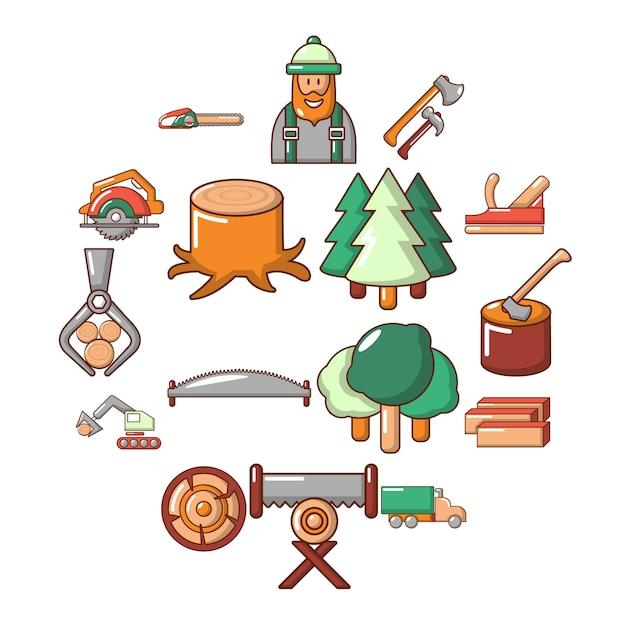 木材産業のアイコンセット、漫画のスタイル Premiumベクター