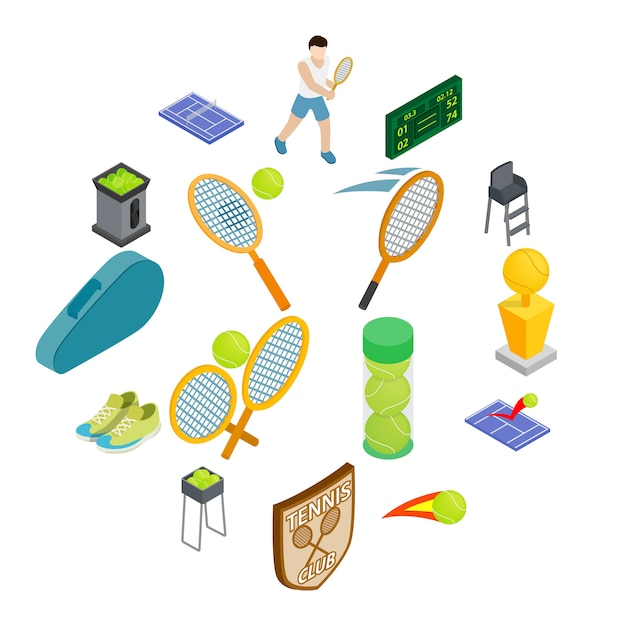 Набор иконок теннис, изометрический стиль Premium векторы