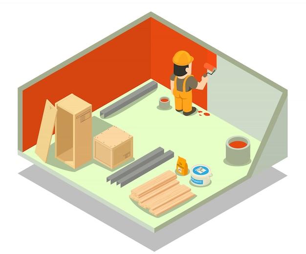 部屋修理コンセプトシーン Premiumベクター