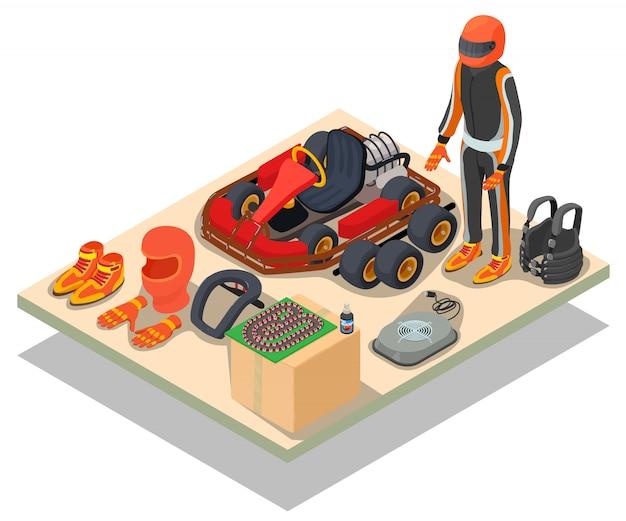 レーシングコンセプトシーン Premiumベクター