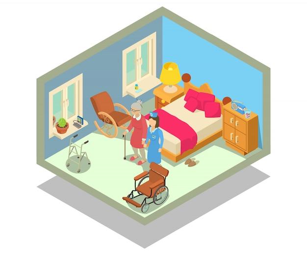 老人ホームのコンセプトシーン Premiumベクター