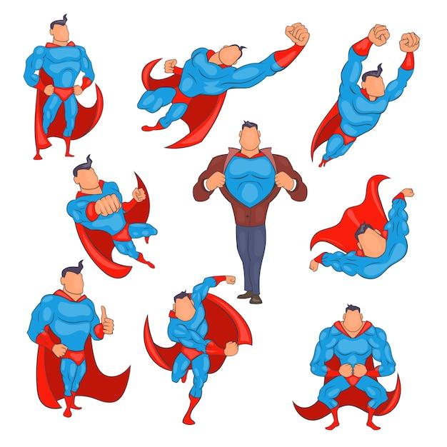 漫画のスタイルでスーパーヒーローのアイコンを設定 Premiumベクター