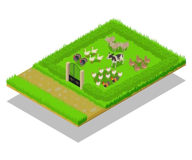 家畜のコンセプトシーン Premiumベクター