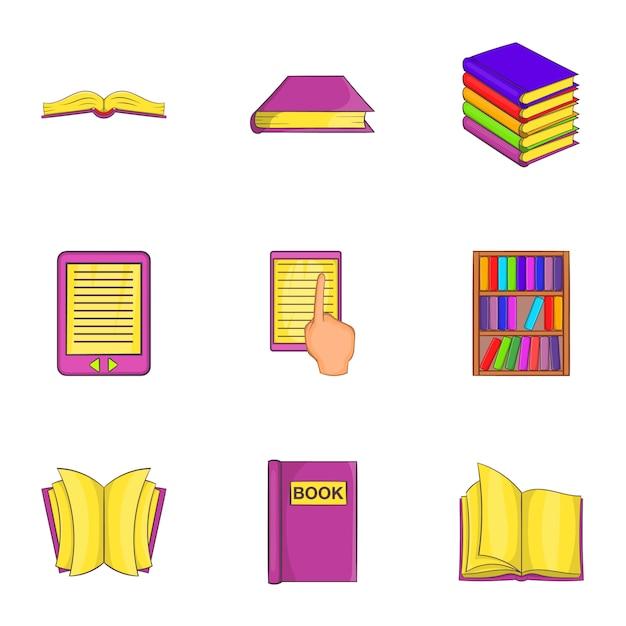 Набор иконок книг, мультяшном стиле Premium векторы
