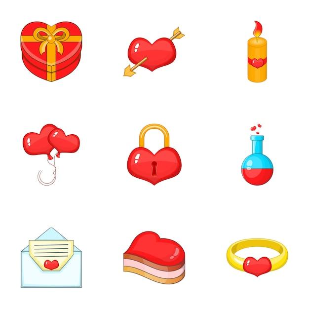 Набор иконок день святого валентина, мультяшном стиле Premium векторы