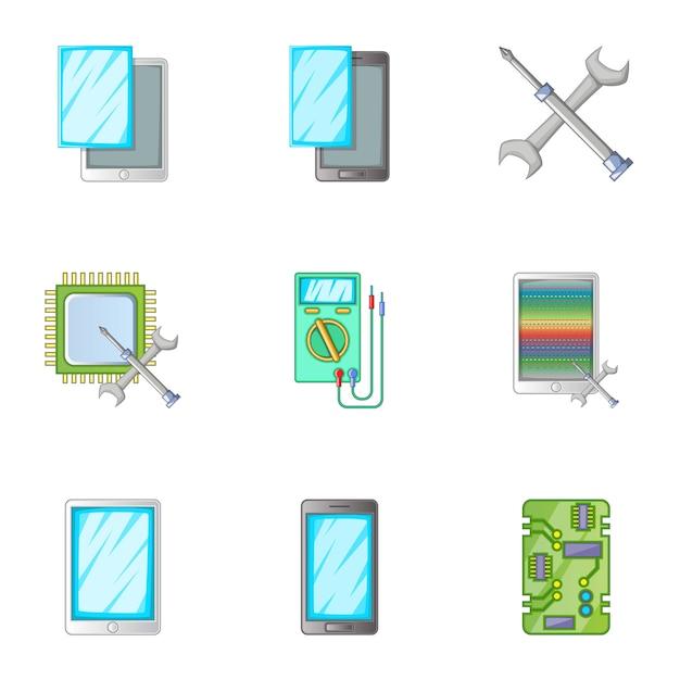 電話修理サービスアイコンセット、漫画のスタイル Premiumベクター